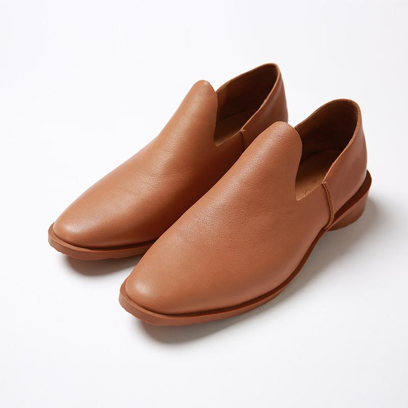 半圆原创设计2018秋新品休闲牛皮百搭个性舒适脚感软女皮鞋平底