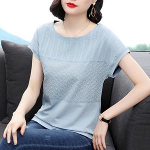 妈妈短袖t恤女蕾丝上衣中年夏装2021新款时尚半袖大码遮肚子体恤