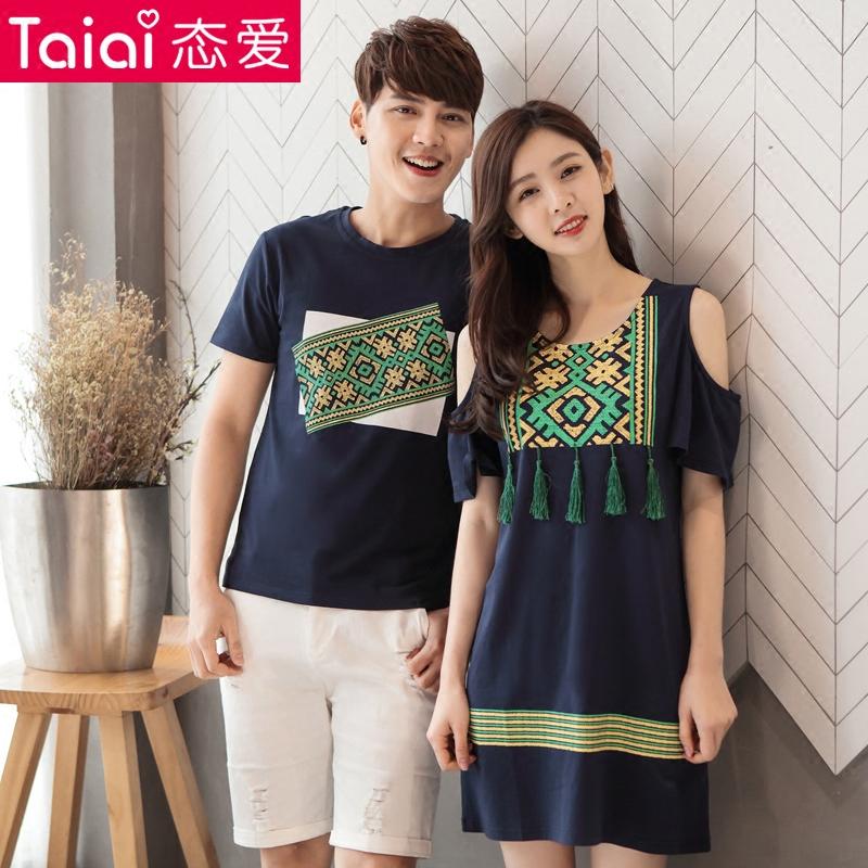Love lovers summer dress womens skirt mens T-shirt 2021 new fashion print short sleeve medium and long Korean dress