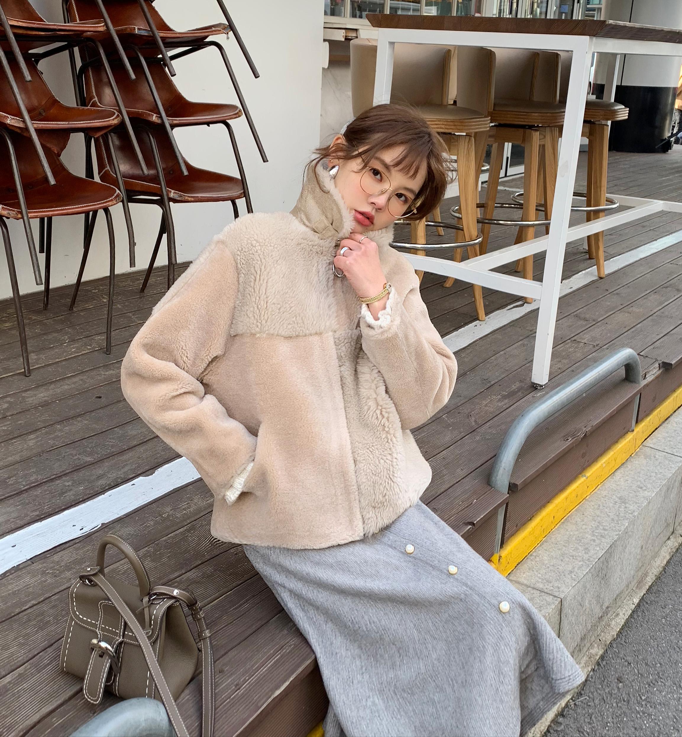 花栗鼠小姐 皮毛一体立领小外套 保暖显瘦又有面的休闲轻皮草