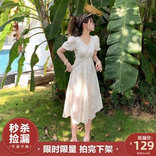 2020新款 花栗鼠小姐 复古连衣裙女夏雪纺V领裙子 仙女白色长裙法式