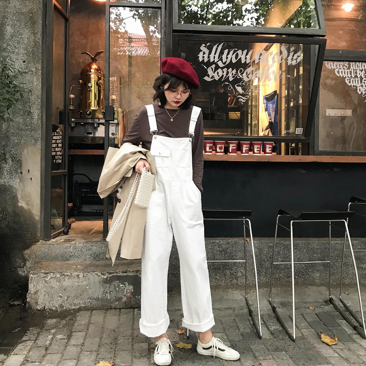 花栗鼠小姐 2018秋季新品复古白色小阔腿背带裤女宽松学生韩版