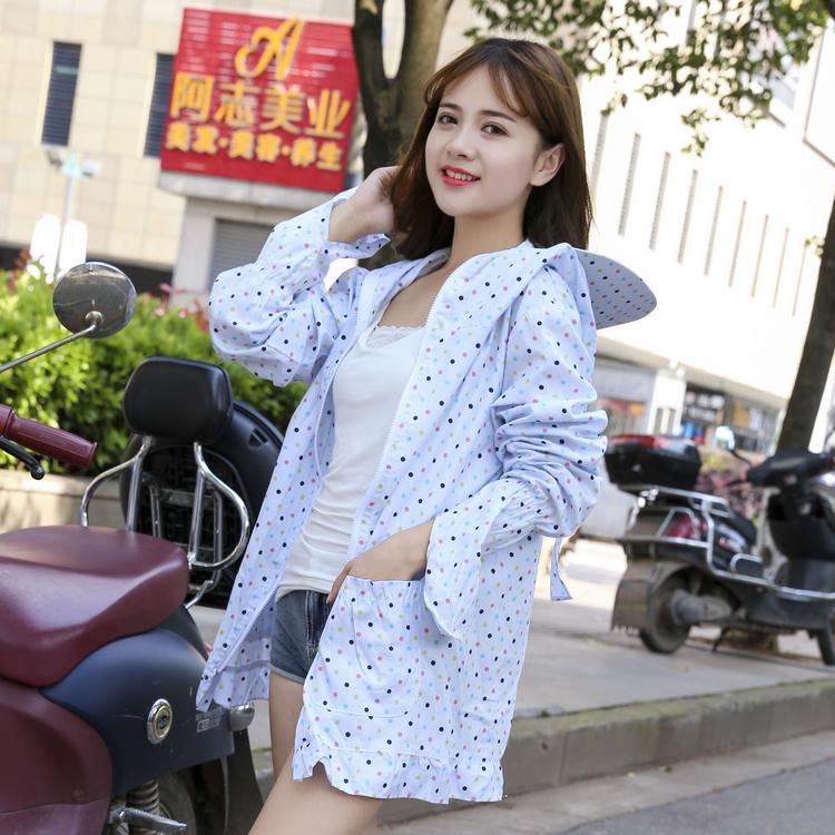 防晒衣女中长款防紫外线2018夏季新款韩版宽松沙滩服纯棉长袖外套