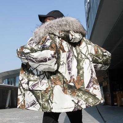 2019冬季新款口罩简潮迷彩连帽座山雕大毛领棉衣男潮外套M950P120