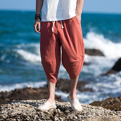 棉98.8%再生纤维素纤维1.2%旅拍立体裁剪宽松七分裤男 1975 P40