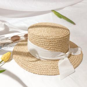 赫本帽 法式蝴蝶结平顶草帽 拉菲草帽白色礼帽女夏沙滩小檐英伦