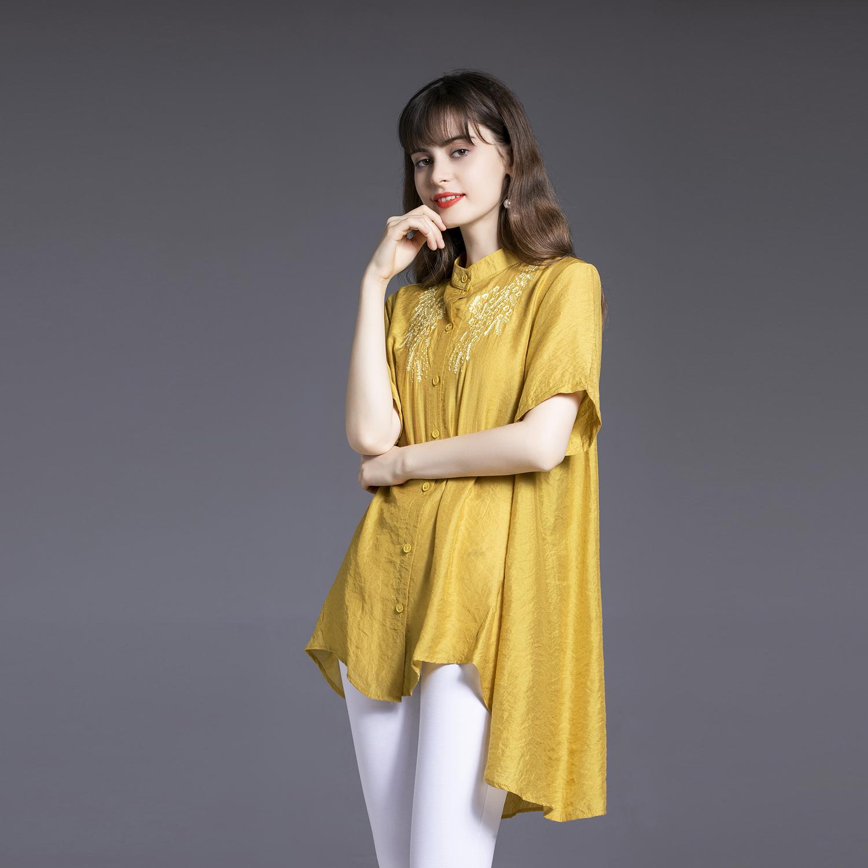 Cotton linen shirt womens summer 2020 new loose large irregular thin medium and long linen top