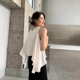 很仙 韩版 上衣女夏2021新款 无袖 小众宽松设计感心机白色背心外穿
