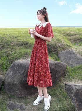 法式红色碎花雪纺连衣裙女夏季复古收腰显瘦气质小清新娃娃领裙子
