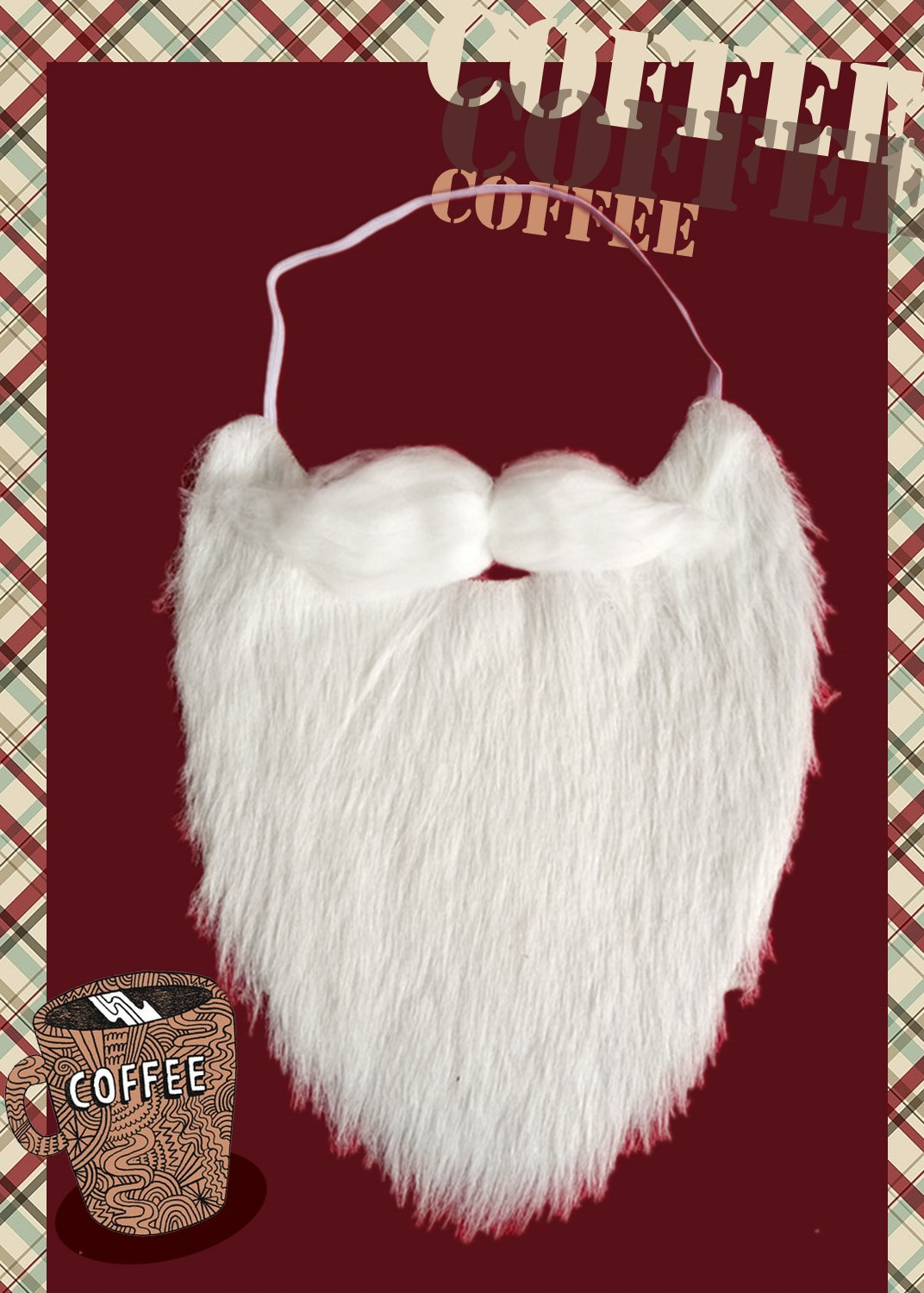 Christmas clothes accessories Santa Claus white beard dress up Christmas Hat Christmas gifts beard hat