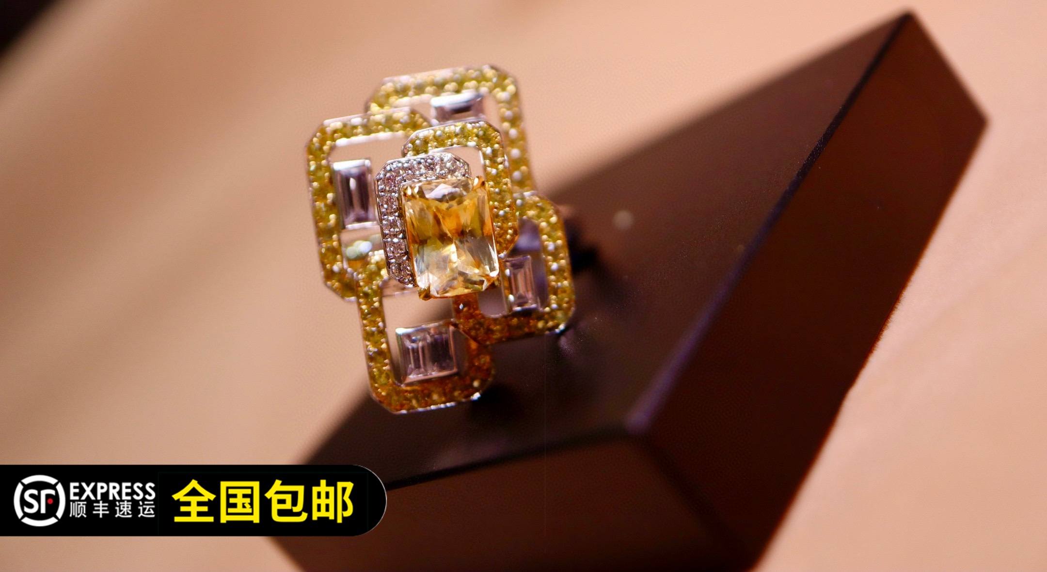 Original works shop warranty natural unburned Yellow Sapphire Ring 18K Gold Diamond shopkeeper recommended package