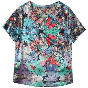 中年缎面重磅女短袖大码小衫衬衫