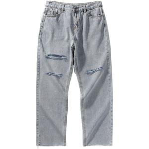 夏季新款2021破洞男韩版直筒裤子