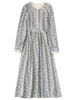 2021春夏新款长袖碎花连衣裙女法式仙女长裙打底裙131