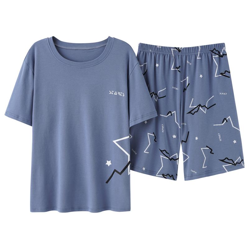 猫人睡衣男夏季纯棉短袖短裤休闲男士家居服夏天薄款全棉大码套装