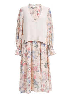 FIVE PLUS2021新款女秋装印花雪纺碎花连衣裙两件套装喇叭袖高腰