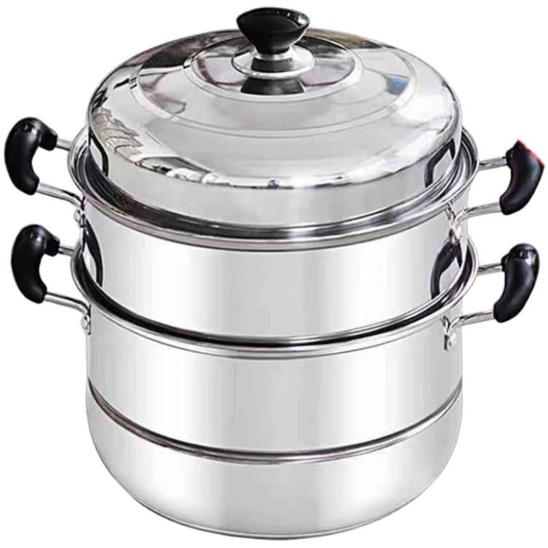 不锈钢蒸锅三层双层加厚蒸笼汤锅大号蒸锅电磁炉煤气锅具26-32cm