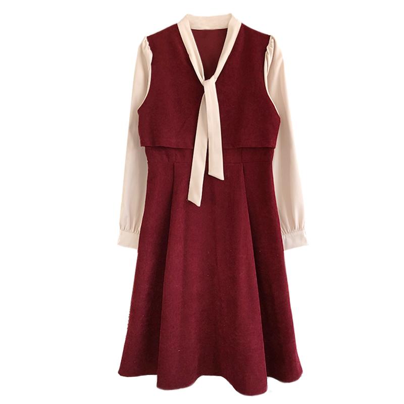 灯芯绒红色连衣裙2021春季新款复古法式收腰显瘦裙子小个子桔梗裙