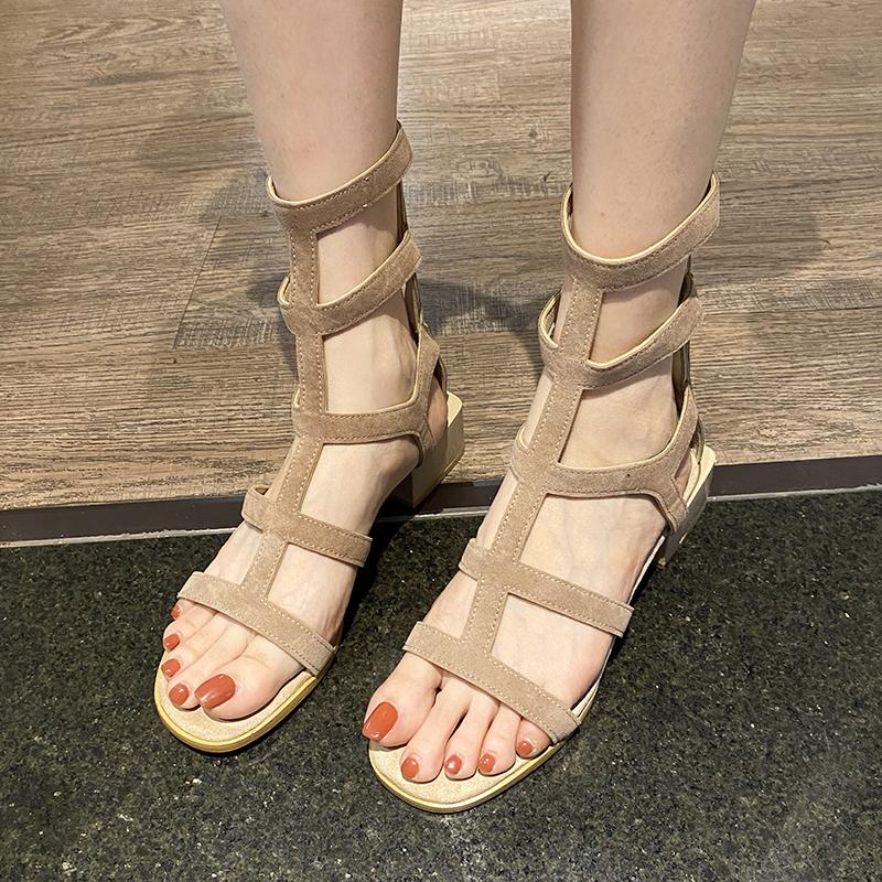 马丁靴凉鞋女ins潮2020夏季女鞋新款百搭中跟粗跟时尚罗马高跟鞋
