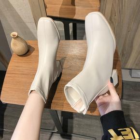 高跟鞋秋冬2020新款黑色马丁靴女英伦风百搭粗跟方头短靴瘦瘦女靴
