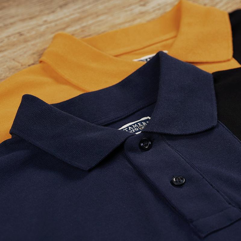 American retro mens business leisure gentleman polo shirt polo shirt knitted short sleeve bead ground mesh cotton T-shirt