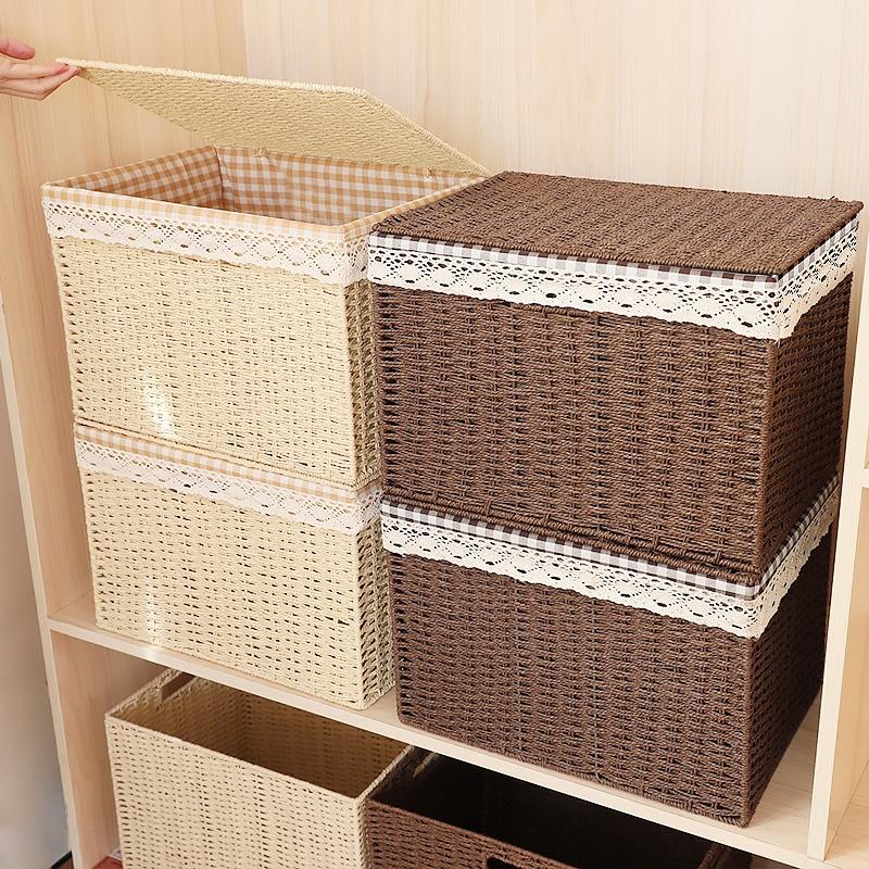 收纳箱藤编杂物收纳盒编织收纳筐有盖衣服玩具储物整理箱大号家用