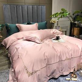 欧式简约结婚四件套全棉纯棉高档60粉色四件套长绒棉婚庆床上用品