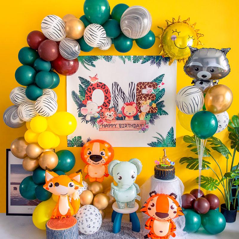 小动物气球装饰宝宝1周岁儿童生日森林系列派对布置品海报背景墙