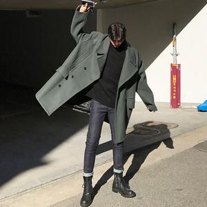 韩版新款冬季毛呢男装大衣青年休闲宽松男中长款加厚呢子风衣外套