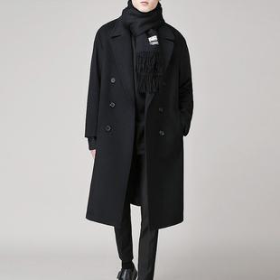 冬季韩版男士落肩毛呢大衣中长款青年双面绒风衣男装加厚呢子外套