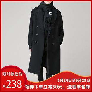 韩版 青年双面绒风衣男装 冬季 男士 加厚呢子外套 落肩毛呢大衣中长款