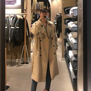春秋韩版正品系带帅气风衣男中长款学生大码宽松大衣男装潮流外套
