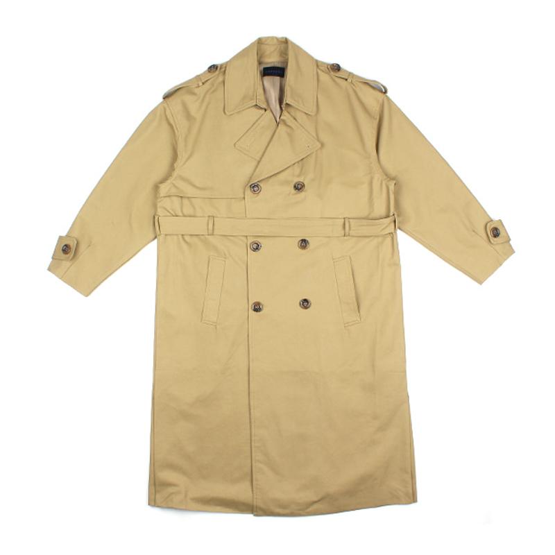 秋冬季韩版休闲帅气系带男风衣中长款过膝落肩双排扣宽松大衣外套