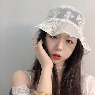 夏季女神款蕾丝透气薄款渔夫帽子女网红街拍时尚韩版百搭夏天盆帽