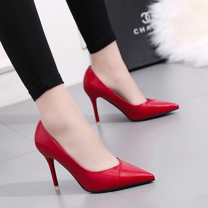 网红高跟鞋女抖音不磨脚少女单鞋细跟尖头黑色工作鞋软皮超烫春款