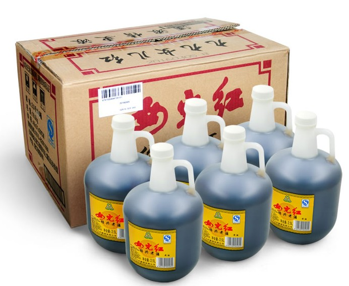 Shaoxing rice wine daughter red 2-year glutinous rice flower carving wine pot 2.5L * 6 barrel full box special cooking wine package mail