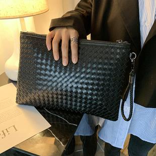 韩版男士时尚手包编织男女信封包手拿包手抓包A4文件包ipad包斜跨