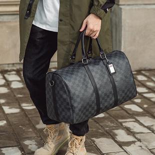 韩版新款男女士大容量短途旅游出差行李袋潮流黑格子手提包单肩包
