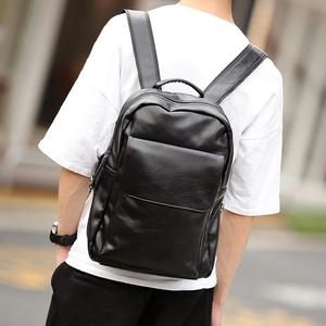 新款潮男包简约双肩包韩版皮质 商务潮流背包学生书包 旅行包潮包