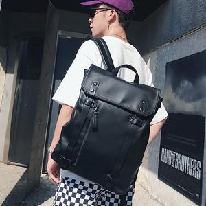 潮流新款背包青年男包简单纯色皮质双肩包休闲户外背包旅行包书包
