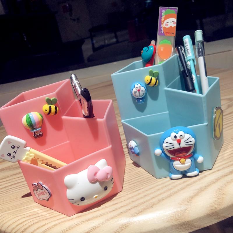 可爱卡通笔筒ins少女心儿童时尚创意卡通博主收纳盒桌面文具包邮