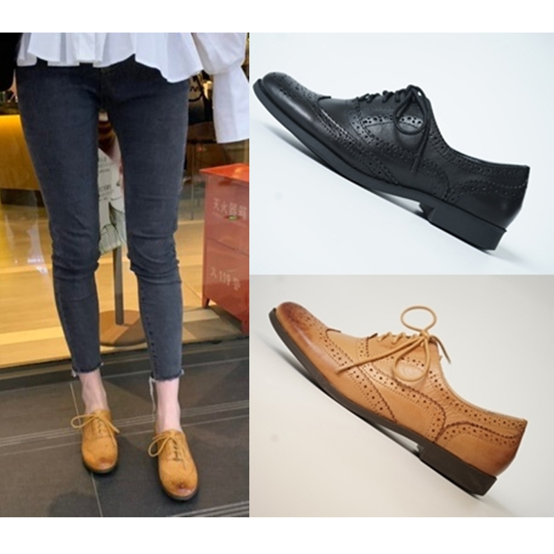 British block school shoes womens carved retro womens shoes brown Oxford leather Institute leather color single shoes