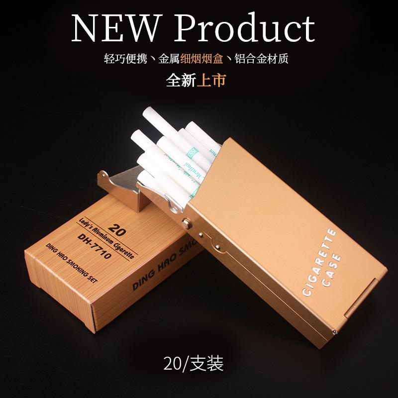 热销0件手慢无铝制女士细烟烟盒可装20支 烟