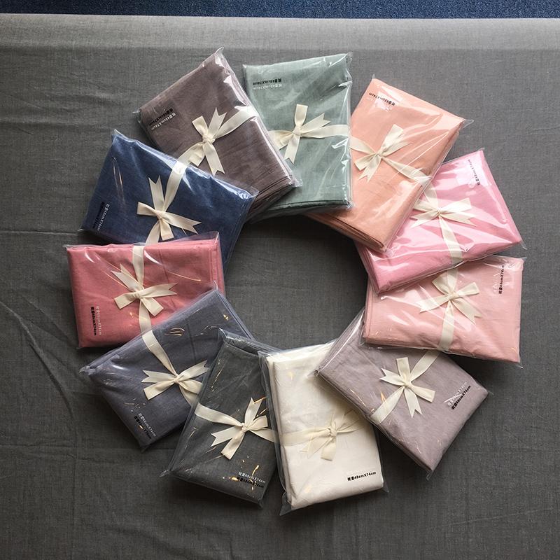 日式无印简约水洗棉单人枕头套