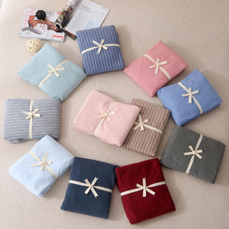 無印天竺棉床笠單件全棉良品純色針織棉床單1.8m米床墊保護套床罩