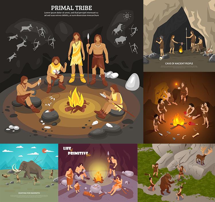 原始人の部落イラストAIベクトル素材原始生活の中で木を掘って火を狩るシーンのデザイン素材