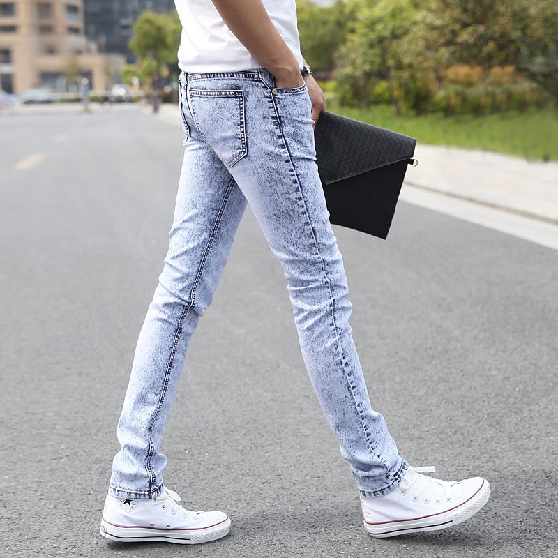 夏季雪花灰白浅色牛仔裤男秋季高中学生男裤子小脚裤修身韩版潮流