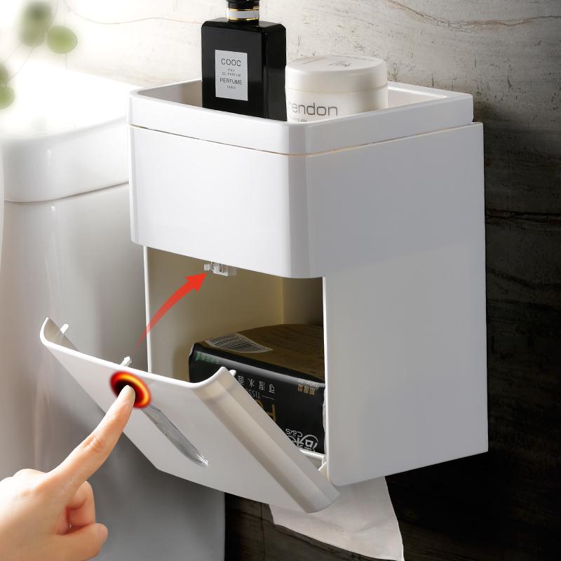 卫生间防水纸巾盒厕所免打孔卫生纸置物架卷纸架抽纸盒厕纸卷纸盒
