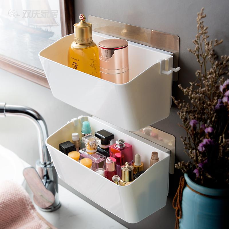 双庆吸盘式收纳架厨房免打孔墙上塑料壁挂架厕所卫生间浴室置物架
