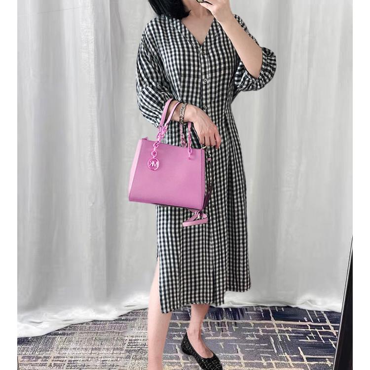 想要日系一点的裙子?安排!七分袖黑白格纹连衣裙女